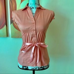Body Central Tie-Front Salmon Blouse